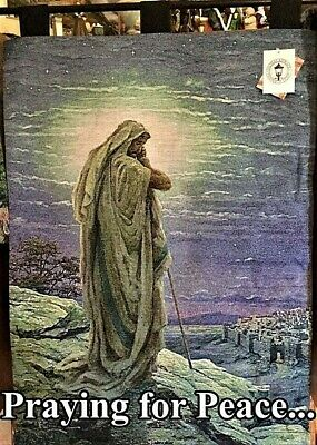 Thomas Kinkade's Praying For Peace Woven Tapestry With Black Wooden Pole