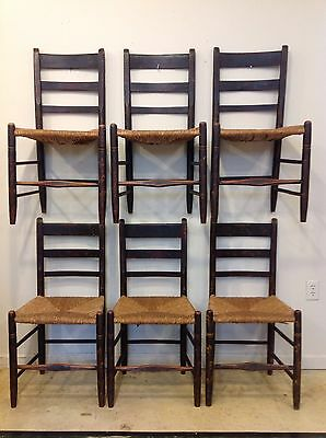 Set Of 6 19th Century Paint Decorated Chairs 1830-50's Rush Seat