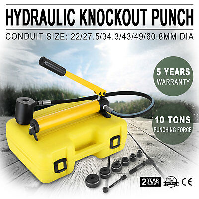 """10 Ton 2"""" Hydraulic Knockout Punch Driver Kit 6 Dies Hole Case 11 14 Gauge Tool"""