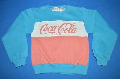 vintage 80s COCA-COLA COKE PINK BLUE WHITE NWT 1986 SWEATSHIRT CHILDREN'S 6X / 7