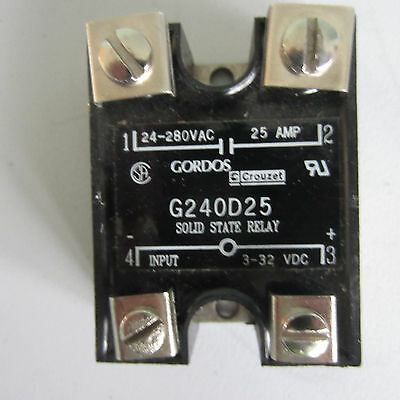 GORDOS solid state relay, G240D25, 24-280 VAC, 25 amp Output, 3-32 VDC Input