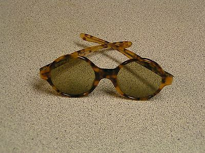 Vintage 1950's A SUTAIN Thick Round Bold TORTOISE SUNGLASSES Unisex *RARE*