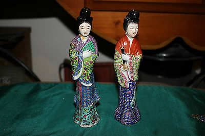 Antique Chinese Geisha Women Porcelain Figures-Small Size-Colorful-Marked Bottom