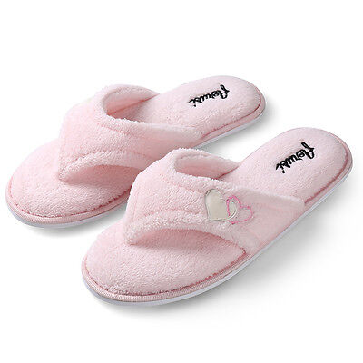 Women's Indoor Pink Plush Slippers Fluffy Thong Flip flop Splash Spa Slipper