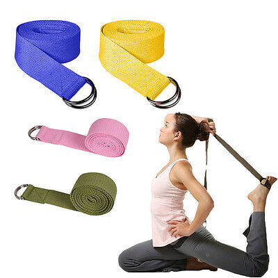 Hot 180CM Yoga Stretch Strap D-Ring Belt Gym Waist Leg Fitness Adjustable Belt