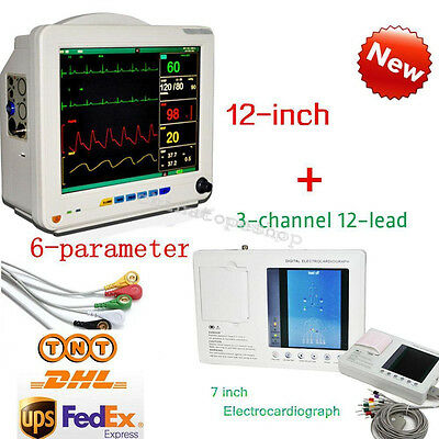Digital 3 Channel 12 lead ECG/EKG machine + 12 inch 6-parameter Patient Monitor