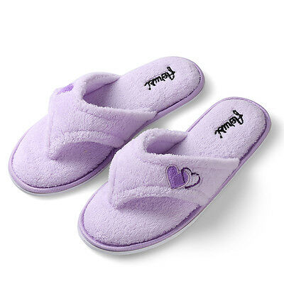 Aerusi Women Cozy Spa Slippers Thong Plush Winter Warm Soft Indoor House Shoes