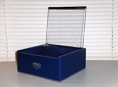 POLO RALPH LAUREN BLUE Dresser Top Organizer Tray, Desktop, Case, Holder, Valet