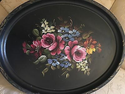 Antique HP Large Oval Tole Tray French Hand Painted Rose Floral Victorian Decor