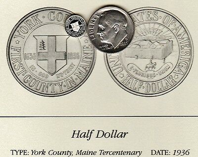 1936 York County Maine 50c Franklin Mint Miniature Sterling Silver Proof Coin