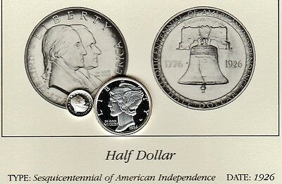 1926 50c Sesquicentennial Independence Franklin Mint Miniature Silver Proof Coin