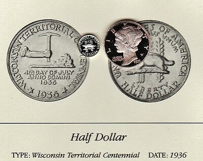 1936 Wisconsin 50c Franklin Mint Miniature Sterling Silver Proof Coin