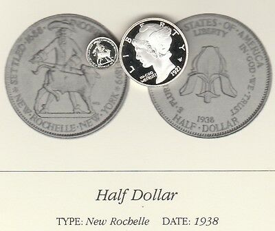 1938 50c New Rochelle Franklin Mint Miniature Sterling Silver Proof Coin