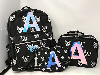 "Justice Girls Puppy Set ~Backpack, Lunch Tote & Purse~ Initial ""A"" NWT!"