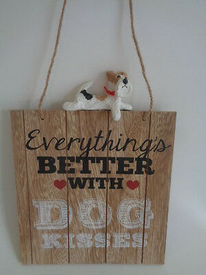 """Ooak~Wire Fox Terrier """"everything's Better With Dog Kisses"""" Wall Hanging**sale**"""