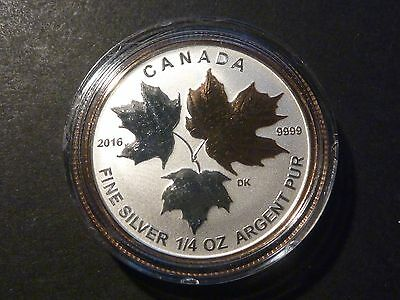 Canada 2016 $3 Silver Maple Leaf 1/4 oz single, from Fractional gold-plated set