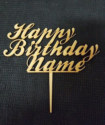 Laser Cut Wooden Cake Topper - Personalised Happy Birthday