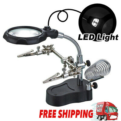 Helping Hand Clip 3.5X 12X Glass Magnifier LED Light Magnifying Soldering Stand