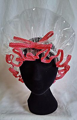 Clear with Red Polka Dot Trim Shower Cap