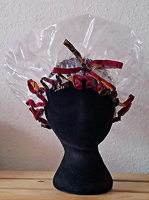 Handmade Clear Shower Cap with Bow and Burgundy and Ochre African Print Trim