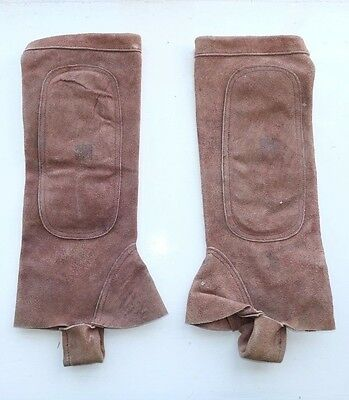 SUEDE LEATHER RIDING GAITERS / HALF CHAPS M boots whip crop hunting horse riding