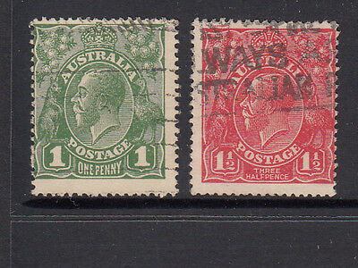 KGV 1d Green and 1 1/2d red No WMK good to Fine used.
