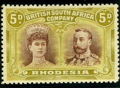 RHODESIA-1910-13 5d Purple Brown & Olive Yellow.  A mounted mint example Sg 141a