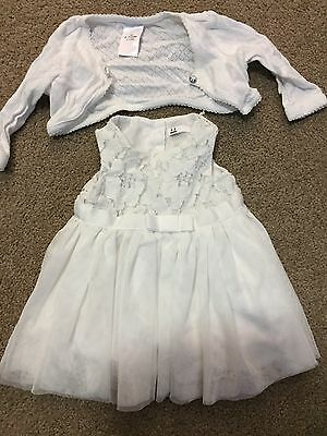 Girls White Occasion Dress Approx Size 0000 - 000 (0-3 Months) With Cardigan