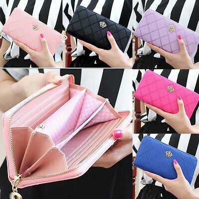 New Fashion Women Purse Zipper Wallet Long Card Holder Cute Gift Crown Handbag