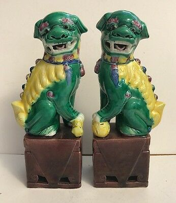 Vintage Pair Dogs Of Foo Pottery Ornaments