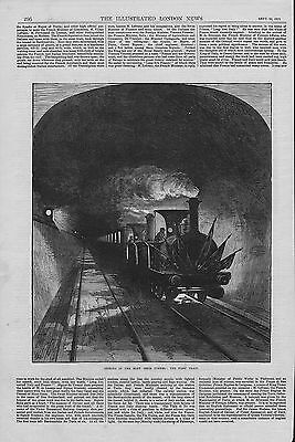 1871  illustration titled : opening of the mount cenis tunnel : first train