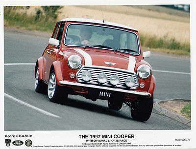 Mini Cooper 1997 With Optional Sports Pack Colour Period Photograph.