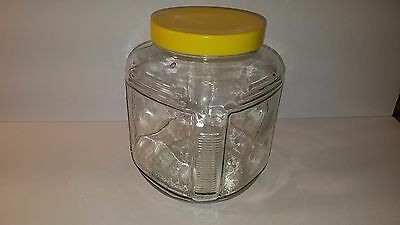 Vintage OLD COUNTRY STORE Square COUNTER GLASS JAR with Screw-On Metal Lid