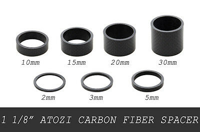 "1 1/8"" Carbon Fiber Bike Bicycle Headset Stem Spacer Set 2/3/5/10/15/20/30mm"