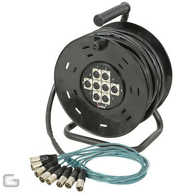 XLR Multicore 8/8 Cable Stagebox Stage Snake Theatre Band Extension Reel 10M
