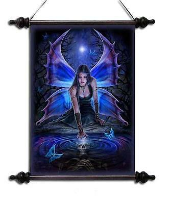 "Anne Stokes Scroll ""immortal Flight"" Fairy With Reflection Pond & Skull Vision"