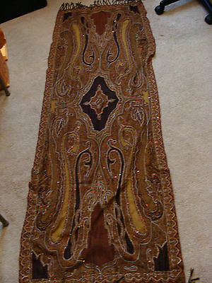 "Antique Vtg PAISLEY SHAWL Piano Cover 2 1/2 Yards by 27"" wide (Beads Stitching)"