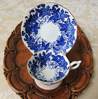 Coalport Cobalt Blue Leaf Motif Tea Cup and Saucer