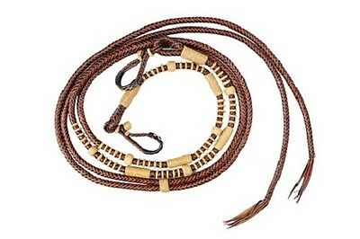 Western Tan Beveled Rawhide Braided Rommel Reins with Natural Braided Knots