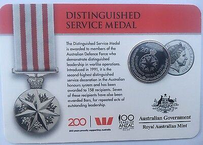 2017 AUSTRALIA LEGENDS OF THE ANZACS DISTINGUISHED SERVICE MEDAL 20 Cents Coin