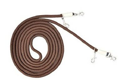 Western Nylon Brown Roping Reins with Steel Trigger Snaps
