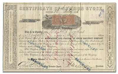 Milwaukee and Prairie du Chien Railway Company Stock Certificate (1863)