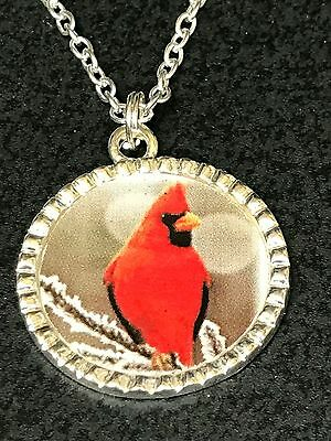 "Cardinal Red Bird on Snowy Branches Charm Tibetan Silver with 18"" Necklace BIN"