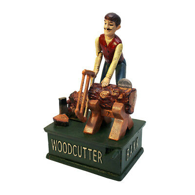 "Design Toscano Recurrent Motion ""Woodcutter"" Mechanical Coin Bank"