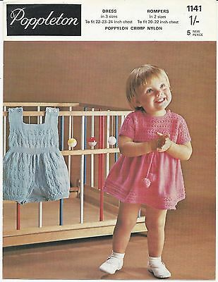 Original Vintage Knitting Pattern Baby / Childs Dress & Rompers