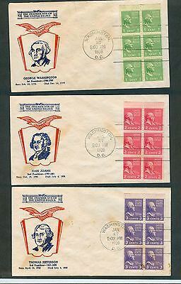 Scott# 804b & 806b & 807a Presidential Booklet Panes ea. on First Day Covers