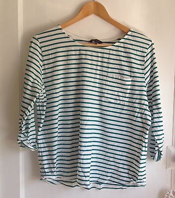 New Look Green Stripe 3/4 Sleeve Top Size 16