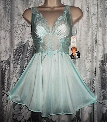 VTG Aqua OLGA Babydoll Nightgown Negligee Nightie Gown M L 91080 NWT !!