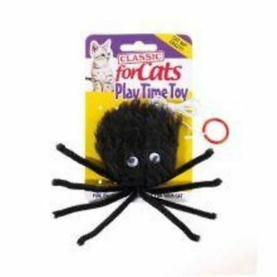 Classic Cat Kitten Black Furry Spider with Catnip Toy on Elastic String
