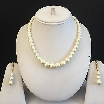 Ivory Gold Costume Jewellery Necklace Earrings Pearls Set New Bridal Wedding